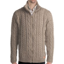 Peregrine by J. G. Glover Chunky Cable Sweater - Merino Wool, Full Zip (For Men) in Mountain Cheviot - Closeouts