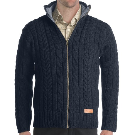 Peregrine by J. G. Glover Chunky Cable Sweater - Merino Wool, Full Zip (For Men) in Mountain Cheviot