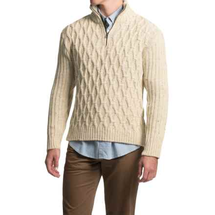 Peregrine by J. G. Glover Diamond Zip Neck Sweater - Peruvian Merino Wool (For Men) in Aran Nep - Closeouts