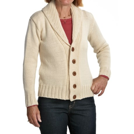 Peregrine by J. G. Glover Peruvian Merino Wool Cardigan Sweater - Shawl Collar (For Women) in Ecru