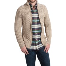 Peregrine by J.G. Glover Aran Cable Cardigan Sweater (For Men) in Beige - Closeouts