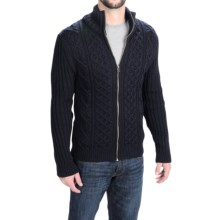 Peregrine by J.G. Glover Aran Cable Cardigan Sweater (For Men) in Navy - Closeouts