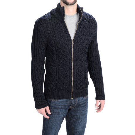 Peregrine by J.G. Glover Aran Cable Cardigan Sweater (For Men) in Navy