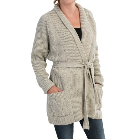 Peregrine by JG Glover Aran Cable Knit Cardigan Sweater Peruvian Merino Wool For Women