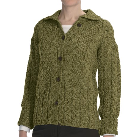 Peregrine by J.G. Glover Aran Cable-Knit Cardigan Sweater - Peruvian Merino Wool (For Women) in Bottle Green