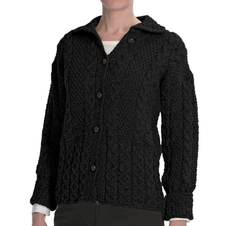 Peregrine by J.G. Glover Aran Cable-Knit Cardigan Sweater - Peruvian Merino Wool (For Women) in Charcoal