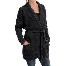 Peregrine by J.G. Glover Aran Cable-Knit Cardigan Sweater - Peruvian Merino Wool (For Women) in Charcoal - Closeouts