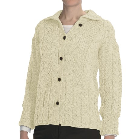 Peregrine by J.G. Glover Aran Cable-Knit Cardigan Sweater - Peruvian Merino Wool (For Women) in Ecru