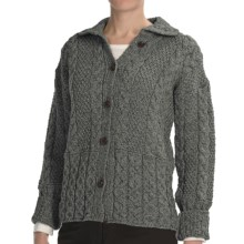 Peregrine by J.G. Glover Aran Cable-Knit Cardigan Sweater - Peruvian Merino Wool (For Women) in Grey - Closeouts