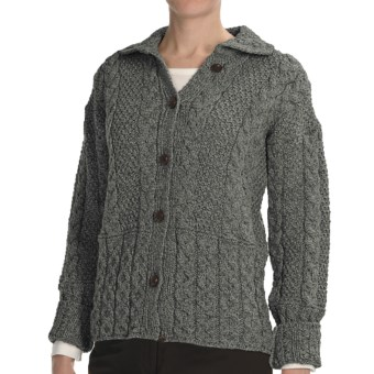 Peregrine by J.G. Glover Aran Cable-Knit Cardigan Sweater - Peruvian Merino Wool (For Women) in Grey