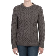 Peregrine by J.G. Glover Aran Cable-Knit Sweater - Merino Wool, Crew Neck (For Women) in Mole Grey - Closeouts