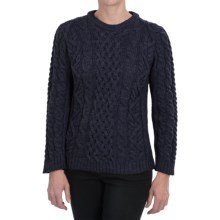 Peregrine by J.G. Glover Aran Cable-Knit Sweater - Merino Wool, Crew Neck (For Women) in Navy - Closeouts