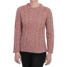 Peregrine by J.G. Glover Aran Cable-Knit Sweater - Merino Wool, Crew Neck (For Women) in Pink - Closeouts