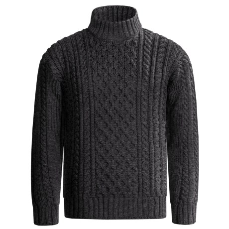 Peregrine by J.G. Glover Aran Cable Sweater - Merino Wool (For Men) in Brown