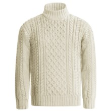 Peregrine by J.G. Glover Aran Cable Sweater - Merino Wool (For Men) in Ecru - Closeouts