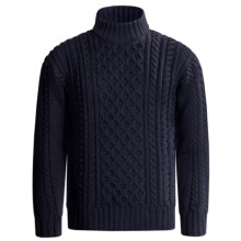 Peregrine by J.G. Glover Aran Cable Sweater - Merino Wool (For Men) in Navy - Closeouts