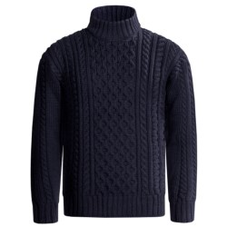 Peregrine by J.G. Glover Aran Cable Sweater - Merino Wool (For Men) in Ecru