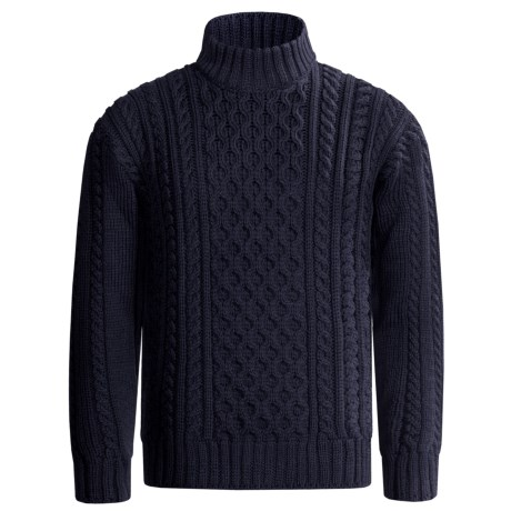 Peregrine by J.G. Glover Aran Cable Sweater - Merino Wool (For Men) in Navy