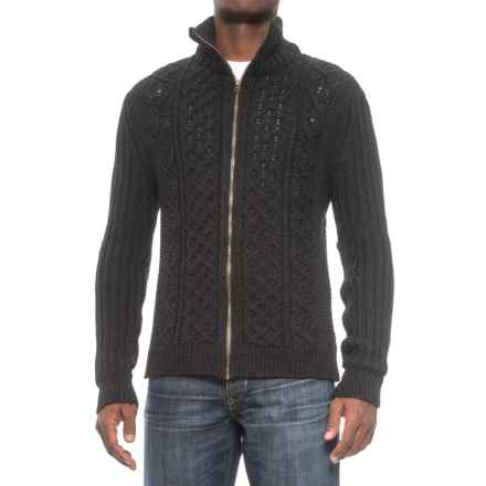 Peregrine by J.G. Glover Aran Full-Zip Sweater - British Merino Wool (For Men) in Charcoal - Closeouts