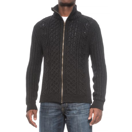 Peregrine by J.G. Glover Aran Full-Zip Sweater - British Merino Wool (For Men) in Charcoal