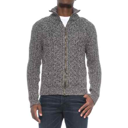Peregrine by J.G. Glover Aran Full-Zip Sweater - British Merino Wool (For Men) in Humbug - Closeouts