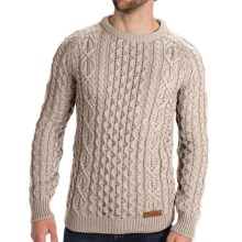 Peregrine by J.G. Glover Aran Knit Sweater - Merino Wool (For Men) in Dirty White - Closeouts