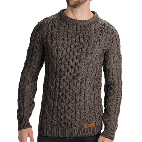 Peregrine by J.G. Glover Aran Knit Sweater - Merino Wool (For Men) in Dirty White