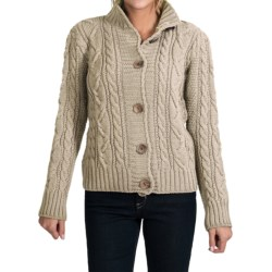 Peregrine by J.G. Glover Aran Peruvian Merino Wool Turtleneck Cardigan Sweater (For Women) in Beige