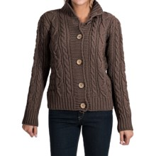 Peregrine by J.G. Glover Aran Peruvian Merino Wool Turtleneck Cardigan Sweater (For Women) in Brown - Closeouts