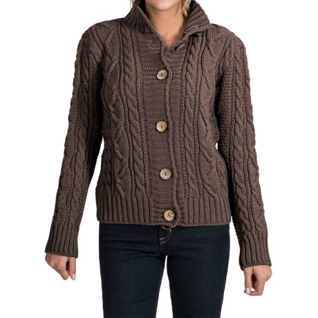 Peregrine by J.G. Glover Aran Peruvian Merino Wool Turtleneck Cardigan Sweater (For Women) in Brown
