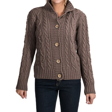 Peregrine by J.G. Glover Aran Peruvian Merino Wool Turtleneck Cardigan Sweater (For Women) in Cheviot