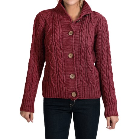 Peregrine by J.G. Glover Aran Peruvian Merino Wool Turtleneck Cardigan Sweater (For Women) in Claret