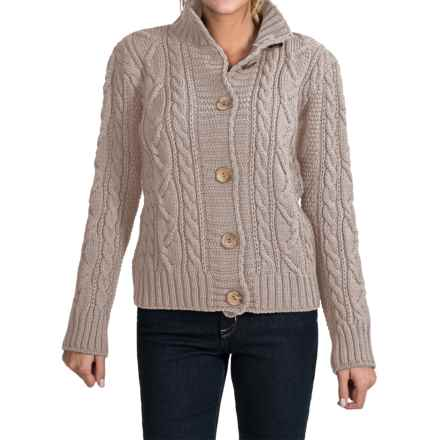 Peregrine by J.G. Glover Aran Peruvian Merino Wool Turtleneck Cardigan Sweater (For Women) in Dirty White - Closeouts