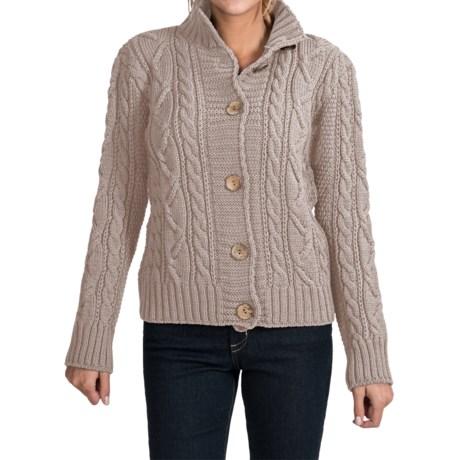 Peregrine by J.G. Glover Aran Peruvian Merino Wool Turtleneck Cardigan Sweater (For Women) in Dirty White