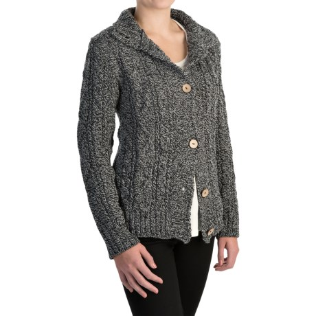 Peregrine by J.G. Glover Aran Peruvian Merino Wool Turtleneck Cardigan Sweater (For Women) in Humbug