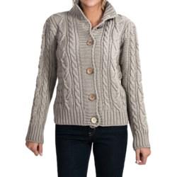 Peregrine by J.G. Glover Aran Peruvian Merino Wool Turtleneck Cardigan Sweater (For Women) in Light Grey