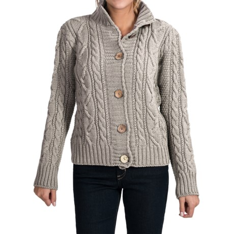 Peregrine by J.G. Glover Aran Peruvian Merino Wool Turtleneck Cardigan Sweater (For Women) in Light Grey