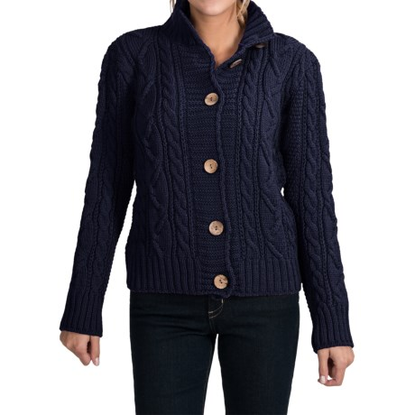 Peregrine by J.G. Glover Aran Peruvian Merino Wool Turtleneck Cardigan Sweater (For Women) in Navy