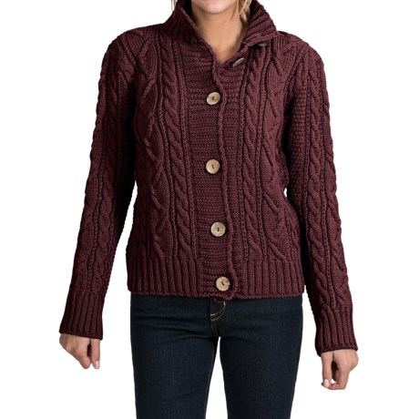Peregrine by J.G. Glover Aran Peruvian Merino Wool Turtleneck Cardigan Sweater (For Women) in Shiraz