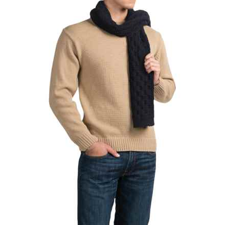 Peregrine by J.G. Glover Aran Scarf - Merino Wool (For Men) in Navy - Closeouts