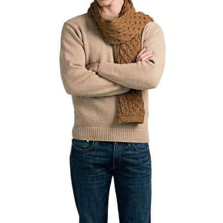 Peregrine by J.G. Glover Aran Scarf - Merino Wool (For Men) in Wheat - Closeouts