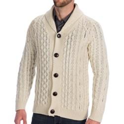 Peregrine by J.G. Glover Aran Shawl Cardigan Sweater - Merino Wool (For Men) in Dirty White