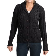 Peregrine by J.G. Glover Aran Shawl Collar Cardigan Sweater - Peruvian Merino Wool (For Women) in Charcoal - Closeouts