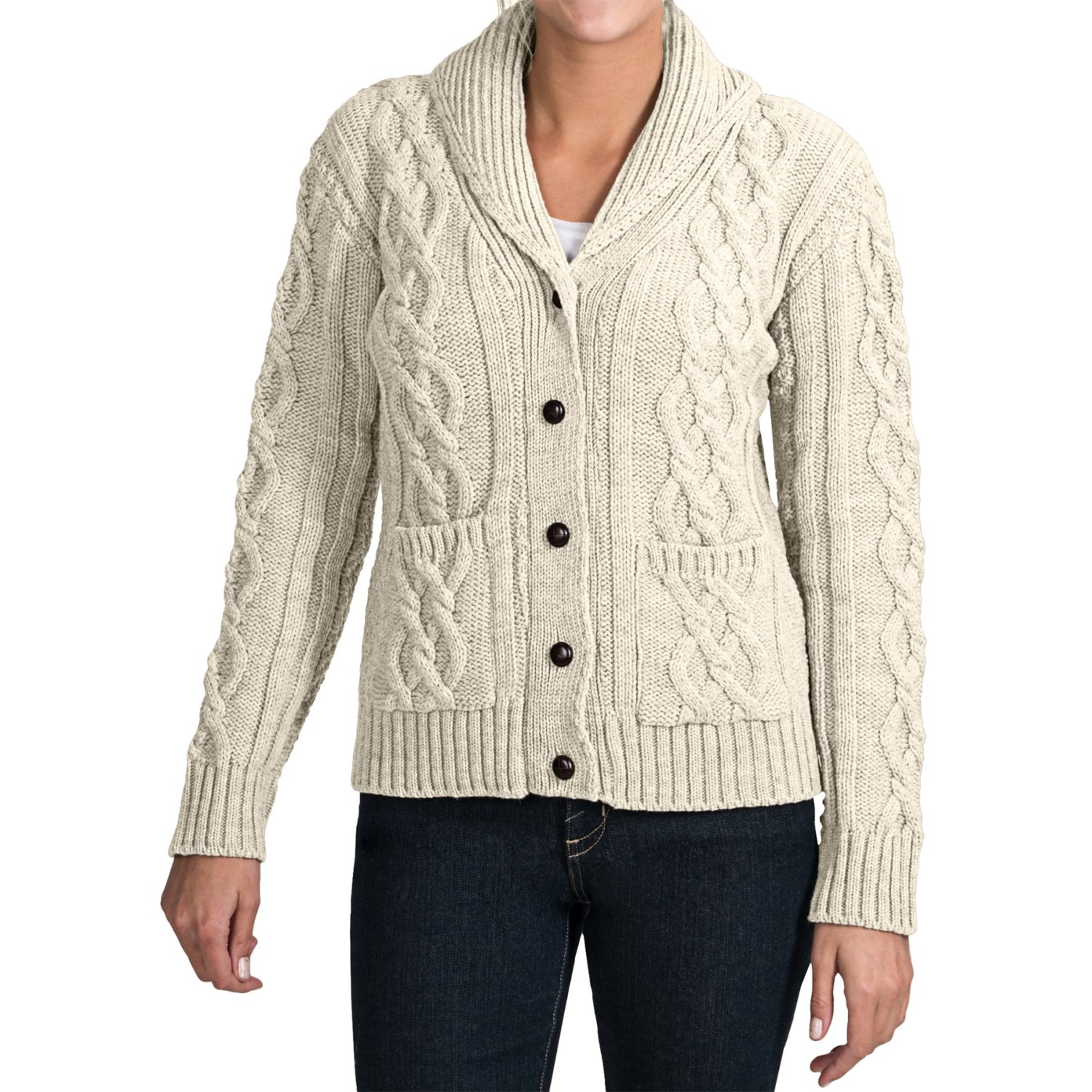 Women'S Shawl Collar Merino Wool Cardigan - Gray Cardigan Sweater