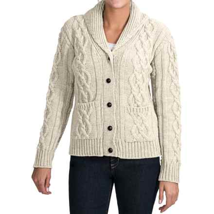 Peregrine by J.G. Glover Aran Shawl Collar Cardigan Sweater - Peruvian Merino Wool (For Women) in Ecru - Closeouts