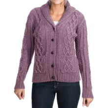 Peregrine by J.G. Glover Aran Shawl Collar Cardigan Sweater - Peruvian Merino Wool (For Women) in Lavendar - Closeouts