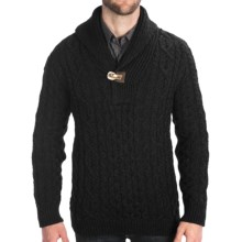 Peregrine by J.G. Glover Aran Shawl Sweater - Merino Wool (For Men) in Charcoal - Closeouts