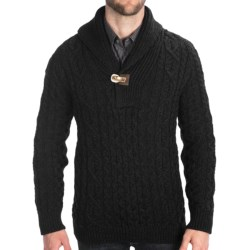Peregrine by J.G. Glover Aran Shawl Sweater - Merino Wool (For Men) in Charcoal