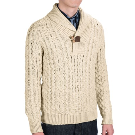Peregrine by J.G. Glover Aran Shawl Sweater - Merino Wool (For Men) in Ecru