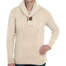 Peregrine by J.G. Glover Aran Shawl Sweater - Merino Wool (For Women) in Ecru - Closeouts